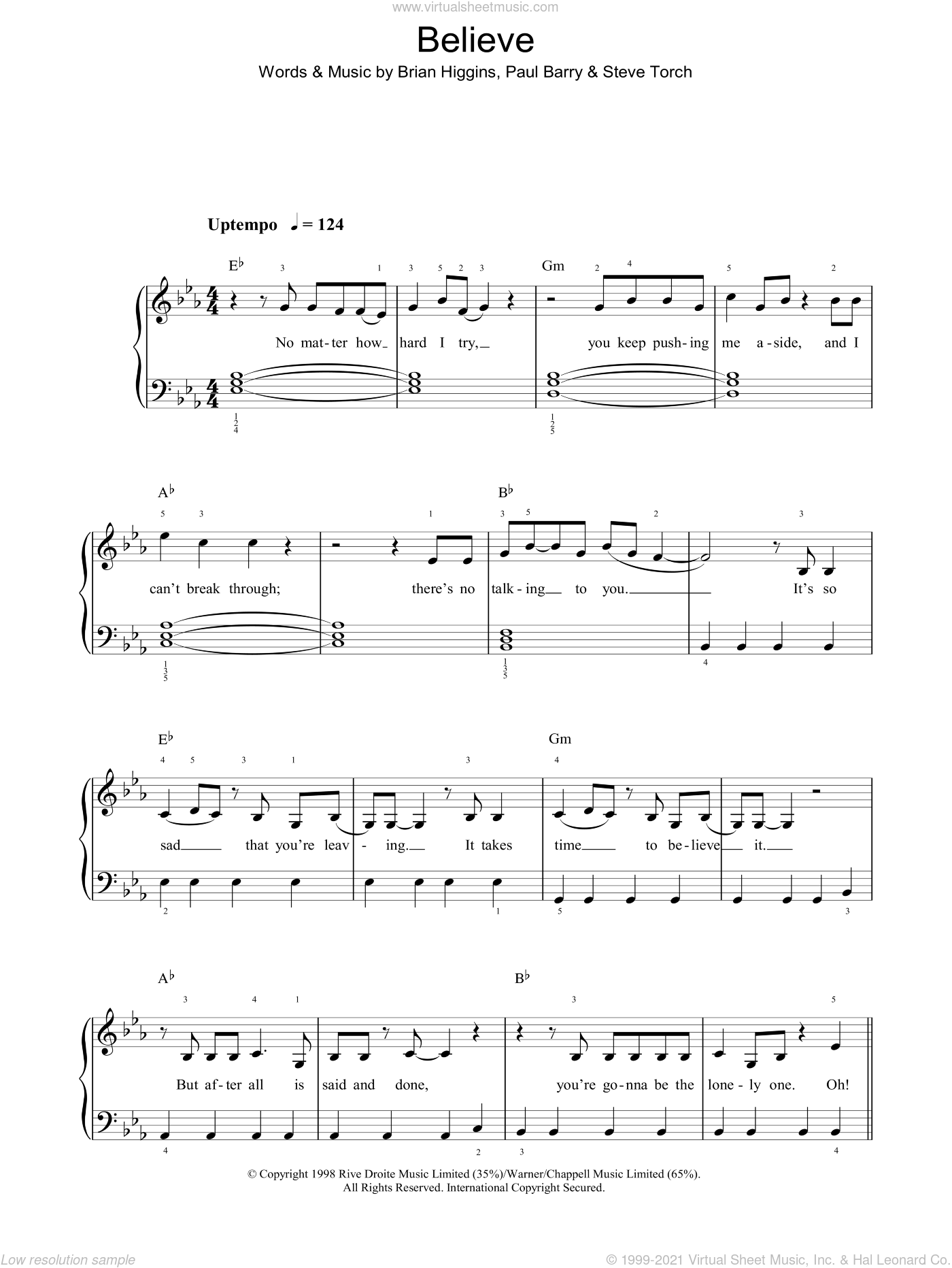 Believe sheet music for voice, piano or guitar by Steve Torch, Cher, Brian Higgins and Paul Barry. Score Image Preview.
