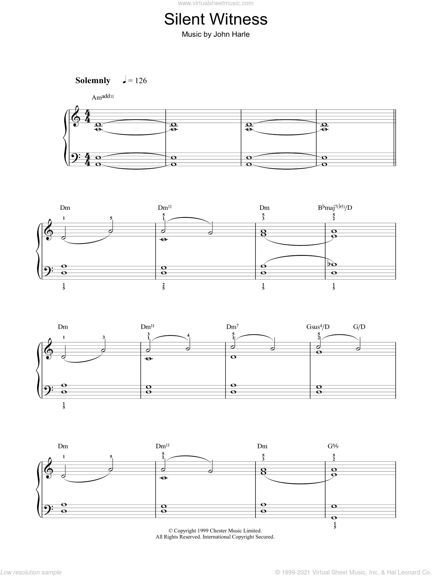 Silent Witness sheet music for voice, piano or guitar by John Harle. Score Image Preview.