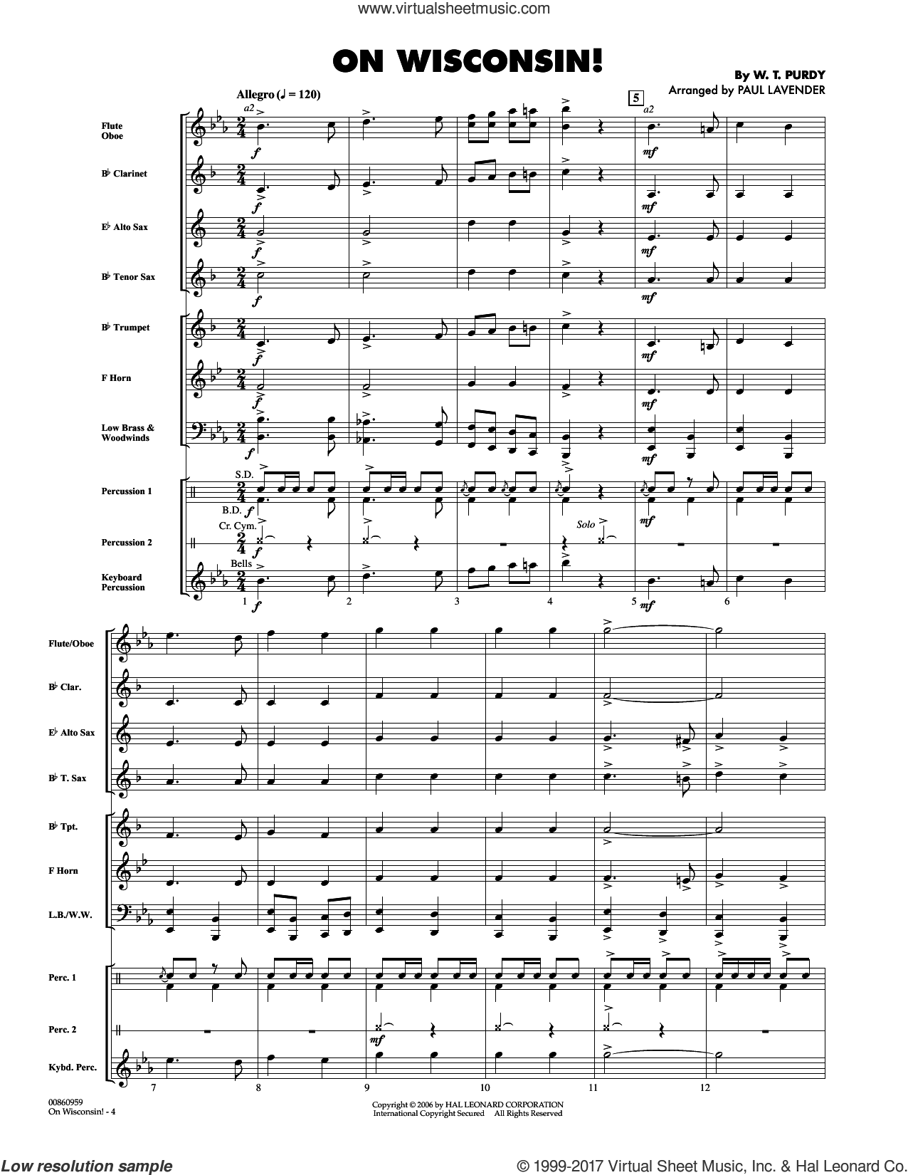 On Wisconsin! (COMPLETE) sheet music for concert band by Paul Lavender, Carl Beck and W.T. Purdy, intermediate. Score Image Preview.