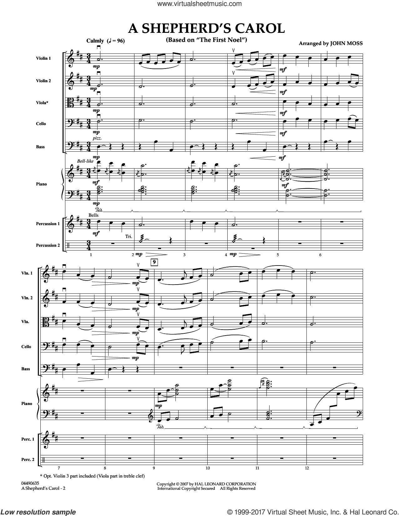 A Shepherd's Carol (COMPLETE) sheet music for orchestra by John Moss, intermediate. Score Image Preview.