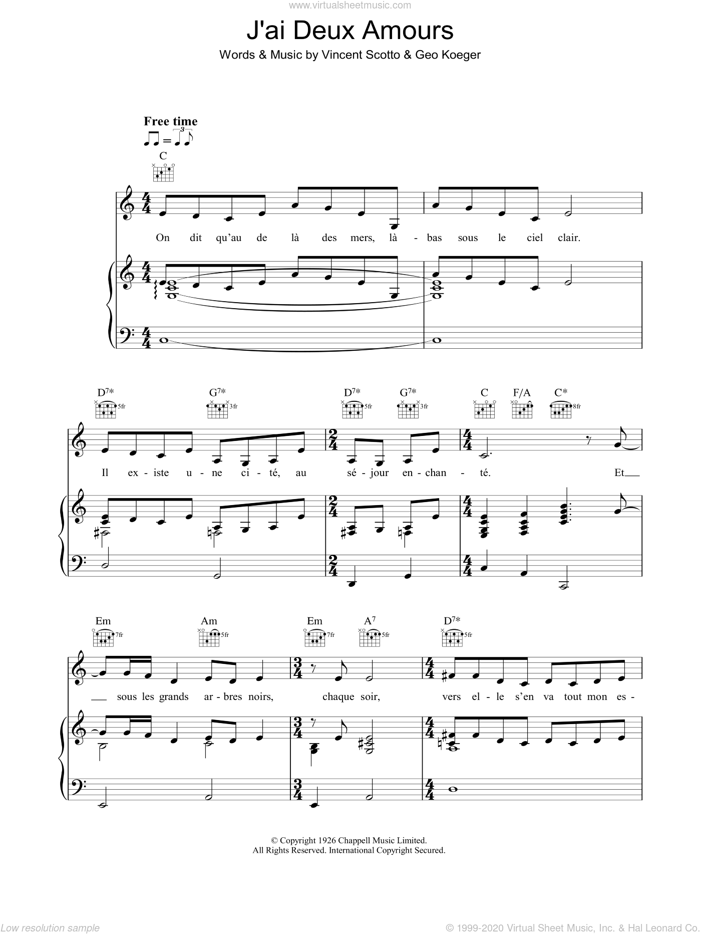 J'ai Deux Amours sheet music for voice, piano or guitar by Vincent Scotto and Madeleine Peyroux. Score Image Preview.
