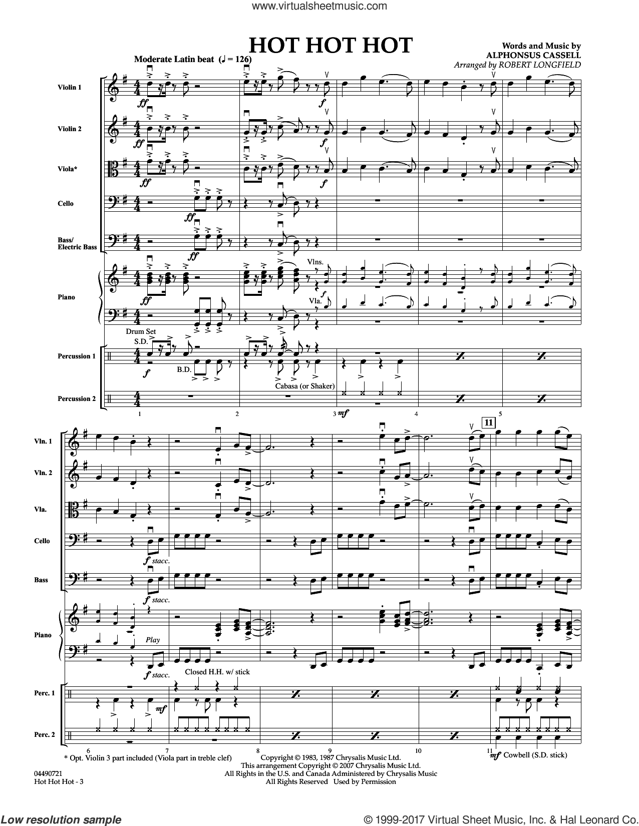 Hot Hot Hot (COMPLETE) sheet music for orchestra by Robert Longfield and Alphonsus Cassell, intermediate skill level