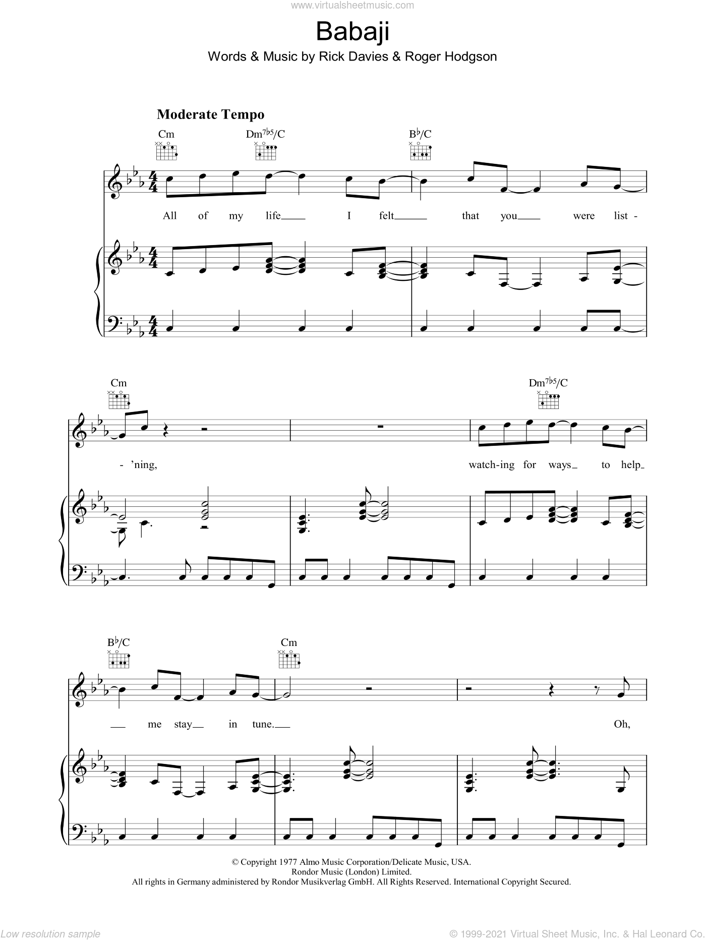Babaji sheet music for voice, piano or guitar by Supertramp, Rick Davies and Roger Hodgson, intermediate skill level