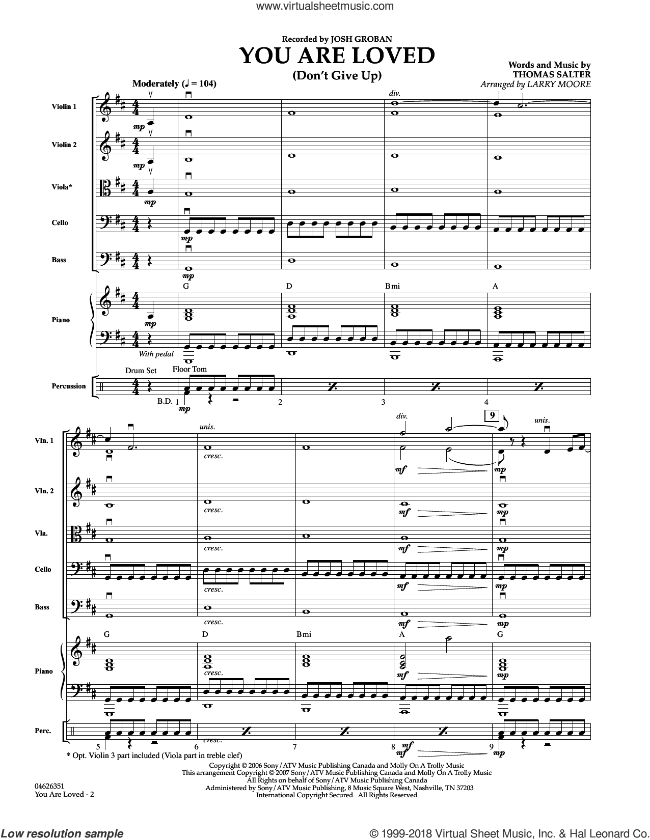 You Are Loved (Don't Give Up) sheet music for orchestra (full score) by Larry Moore and Josh Groban, wedding score, intermediate. Score Image Preview.