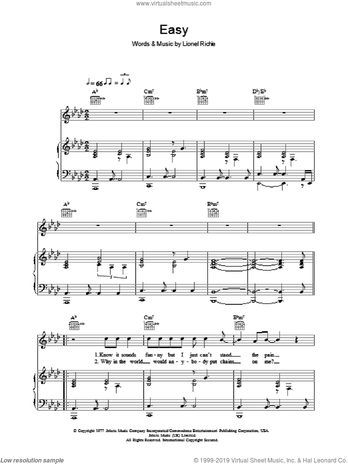 Easy sheet music for voice, piano or guitar by Lionel Richie and Westlife. Score Image Preview.