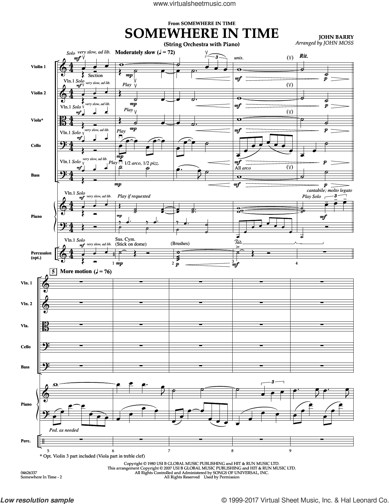 Somewhere in Time (COMPLETE) sheet music for orchestra by John Barry, B.A. Robertson and John Moss, intermediate