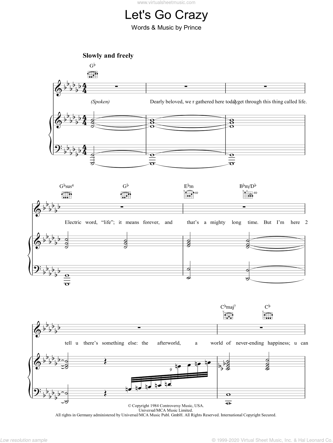 Let's Go Crazy sheet music for voice, piano or guitar by Prince and Prince & The Revolution. Score Image Preview.