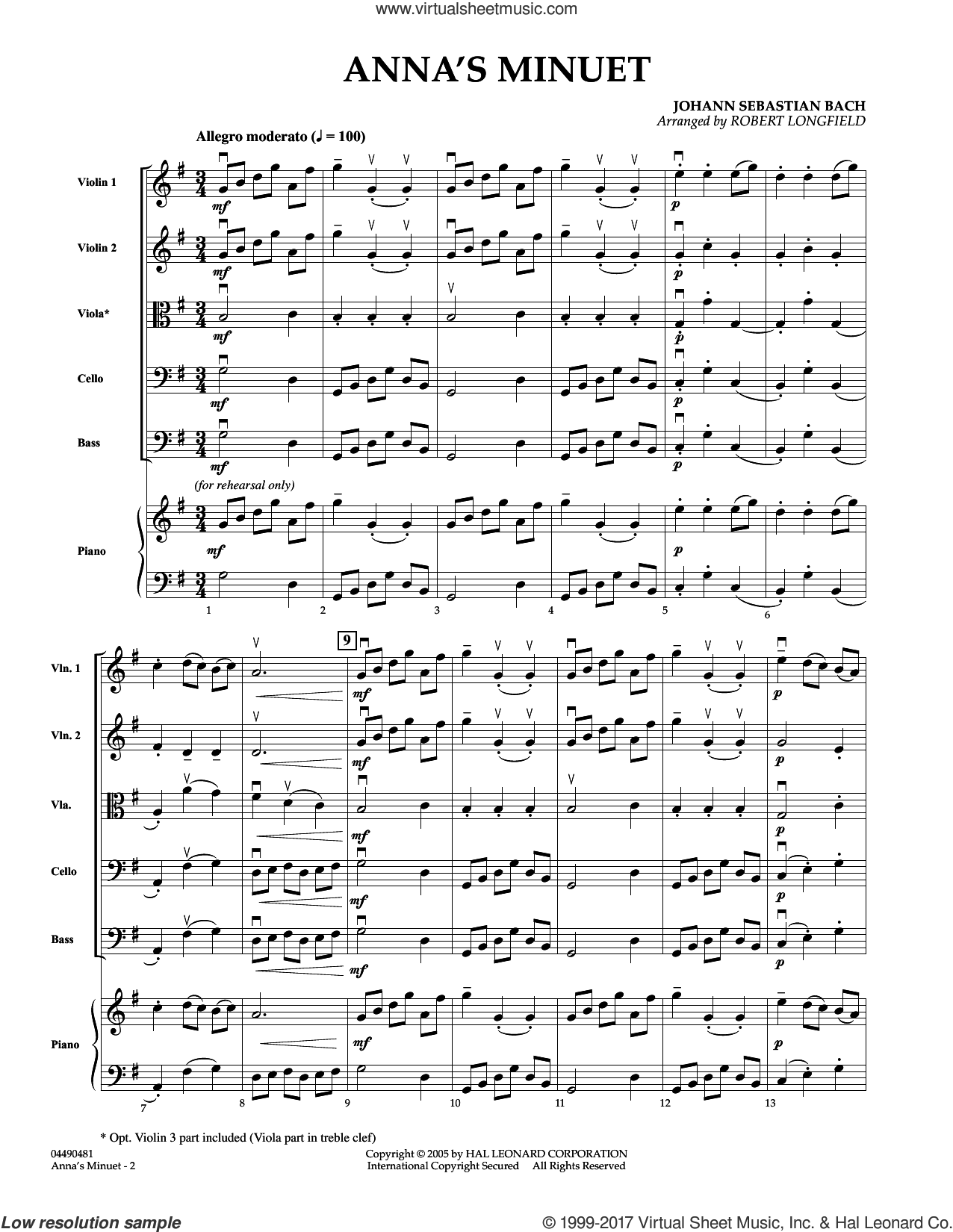 Anna's Minuet (COMPLETE) sheet music for orchestra by Robert Longfield and Johann Sebastian Bach, classical score, intermediate. Score Image Preview.