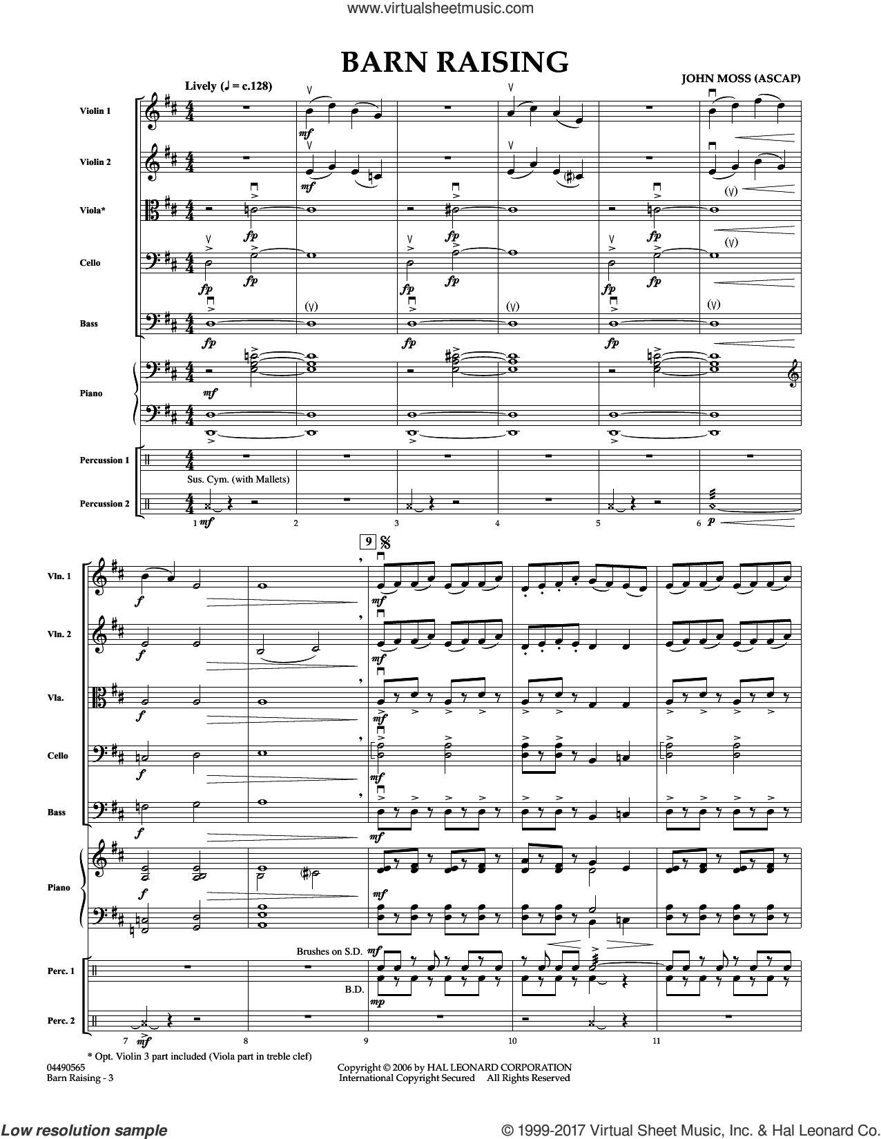 Barn Raising (COMPLETE) sheet music for orchestra by John Moss, intermediate skill level