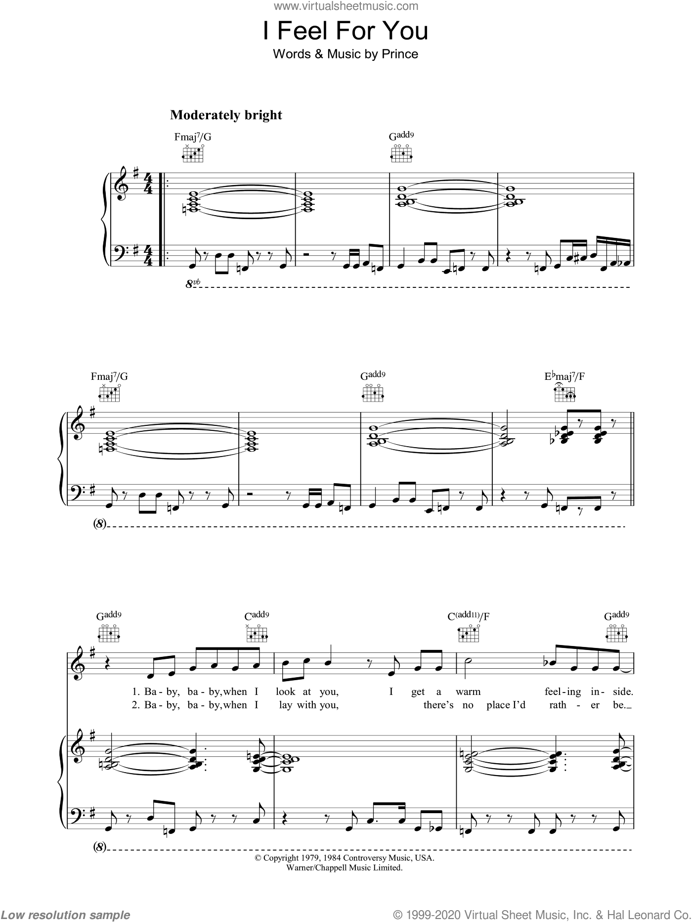 I Feel For You sheet music for voice, piano or guitar by Prince. Score Image Preview.