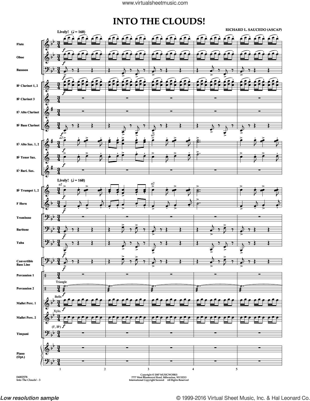Into The Clouds!  W/cd (COMPLETE) sheet music for concert band by Richard L. Saucedo. Score Image Preview.
