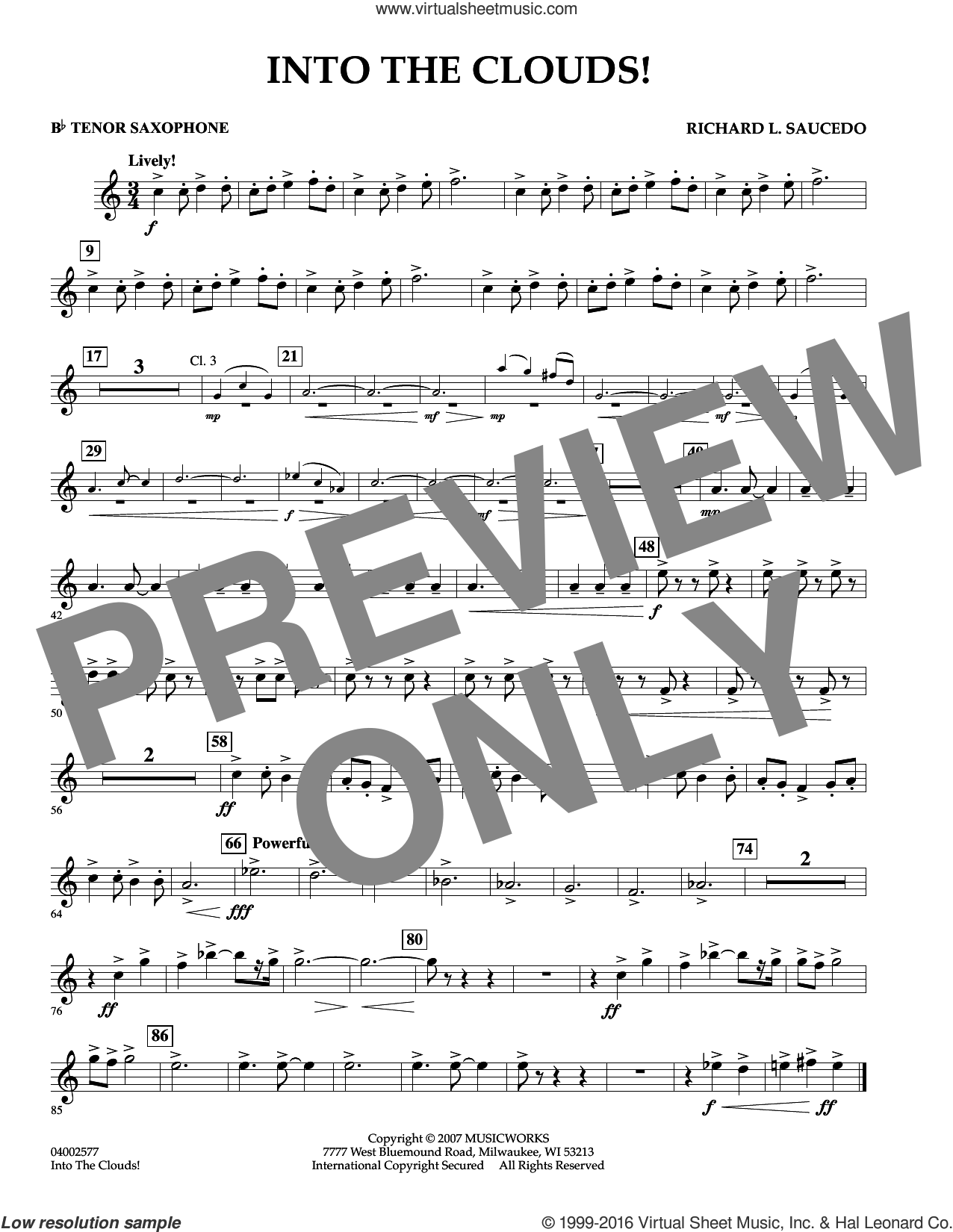Into The Clouds!  W/cd sheet music for concert band (Bb tenor saxophone) by Richard L. Saucedo, intermediate skill level