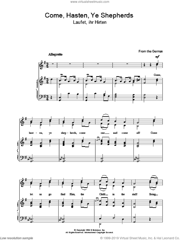 Come Hasten Ye Shepherds sheet music for voice, piano or guitar. Score Image Preview.