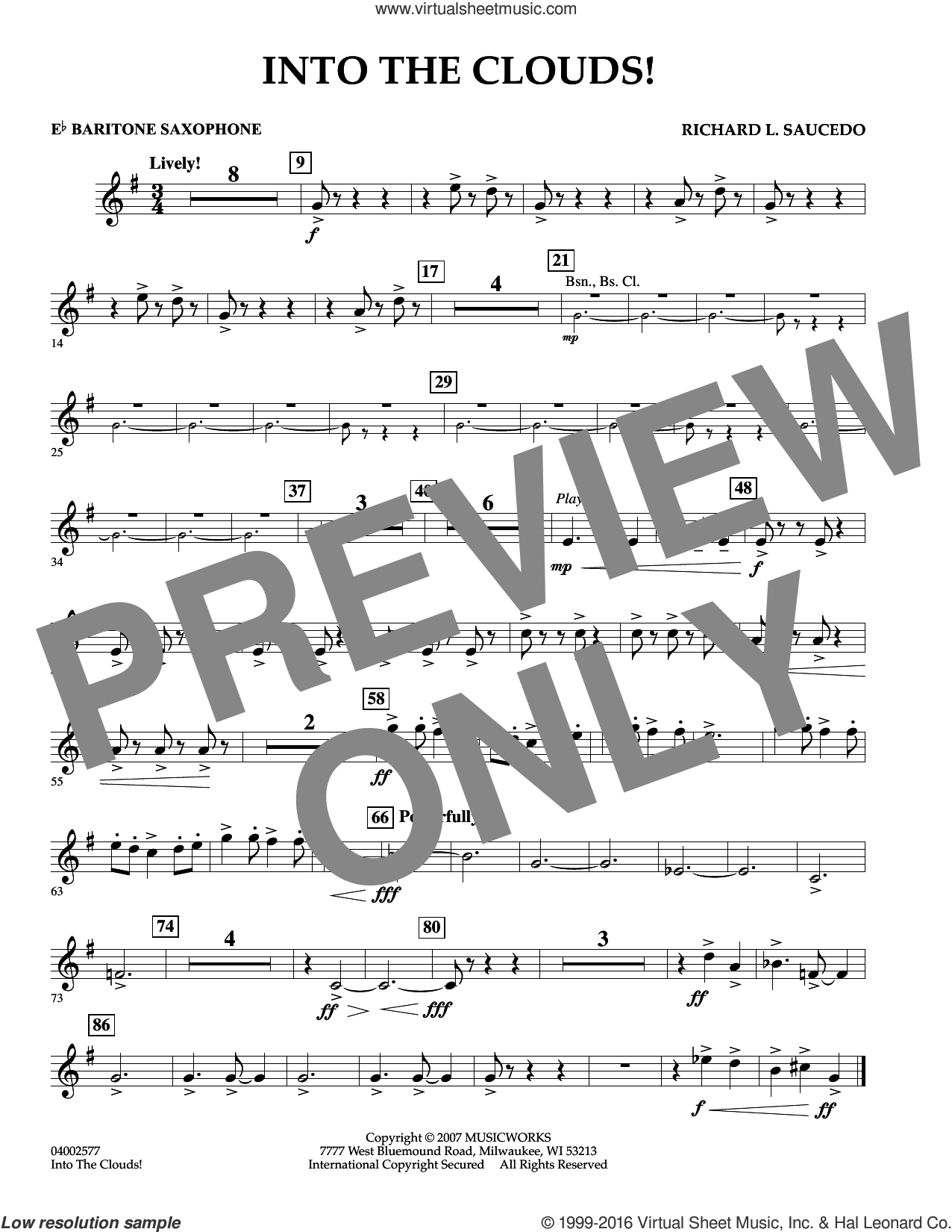 Into The Clouds!  W/cd sheet music for concert band (Eb baritone saxophone) by Richard L. Saucedo, intermediate skill level
