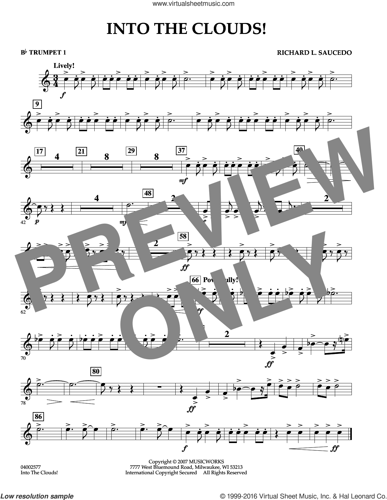 Into The Clouds!  W/cd sheet music for concert band (Bb trumpet 1) by Richard L. Saucedo, intermediate skill level