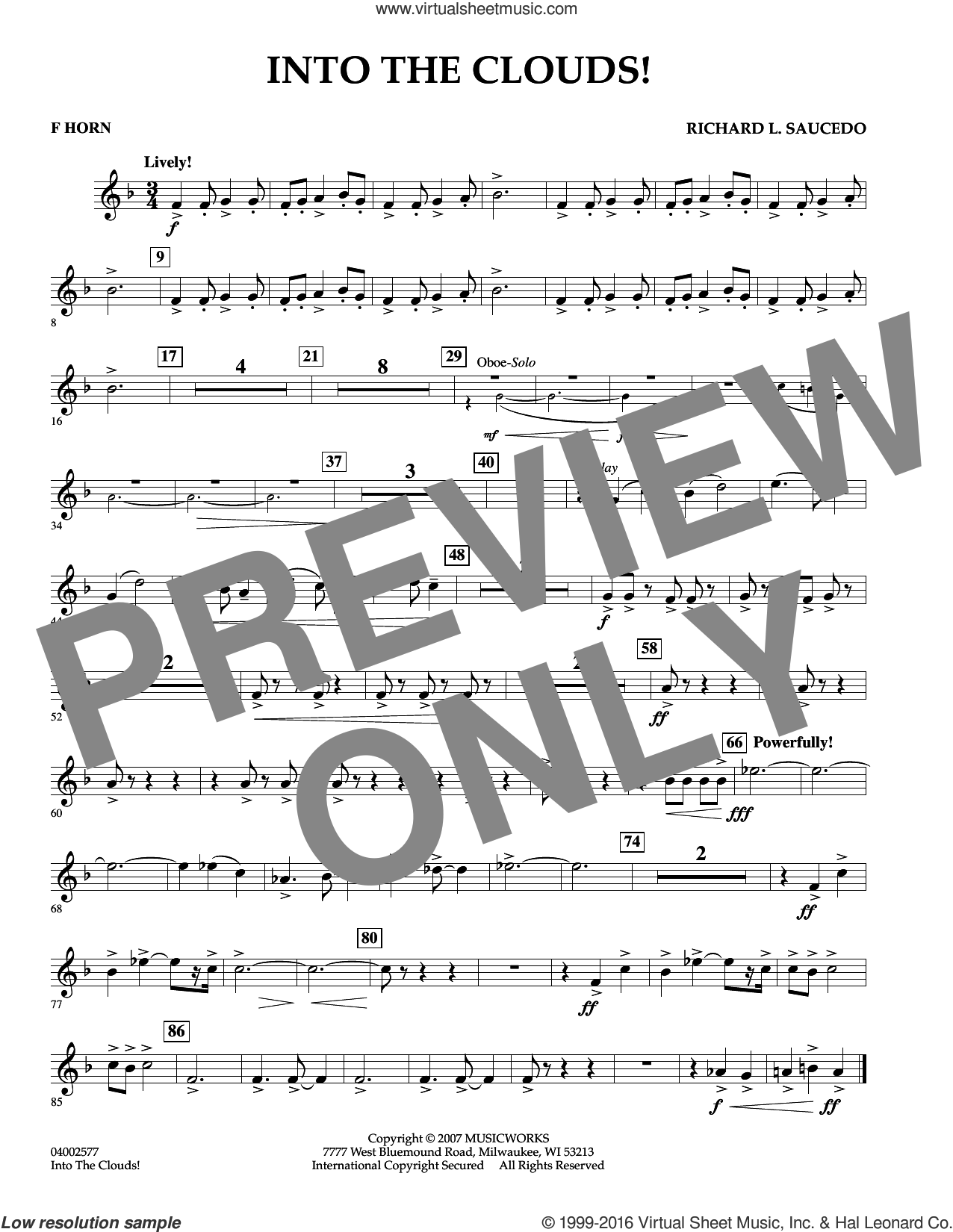 Into The Clouds!  W/cd sheet music for concert band (f horn) by Richard L. Saucedo, intermediate skill level