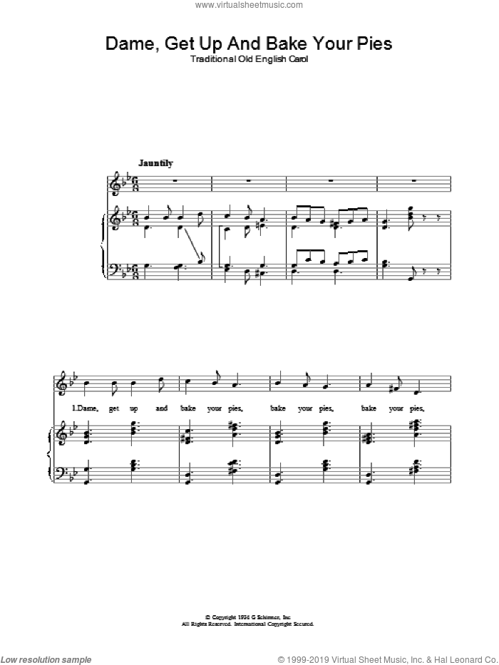 Dame, Get Up And Bake Your Pies sheet music for voice, piano or guitar, intermediate. Score Image Preview.