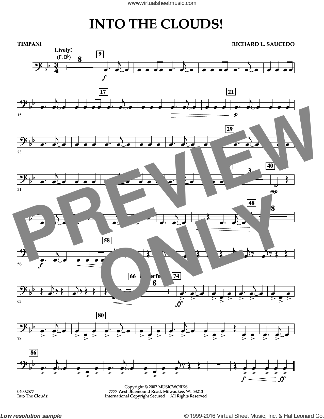 Into The Clouds!  W/cd sheet music for concert band (timpani) by Richard L. Saucedo, intermediate skill level