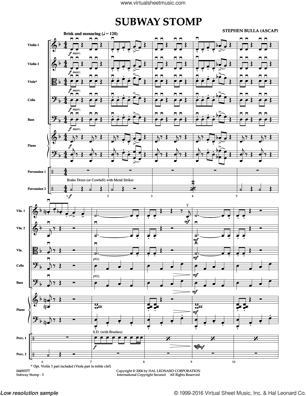 Subway Stomp sheet music for orchestra (full score) by Stephen Bulla, intermediate orchestra (full score). Score Image Preview.