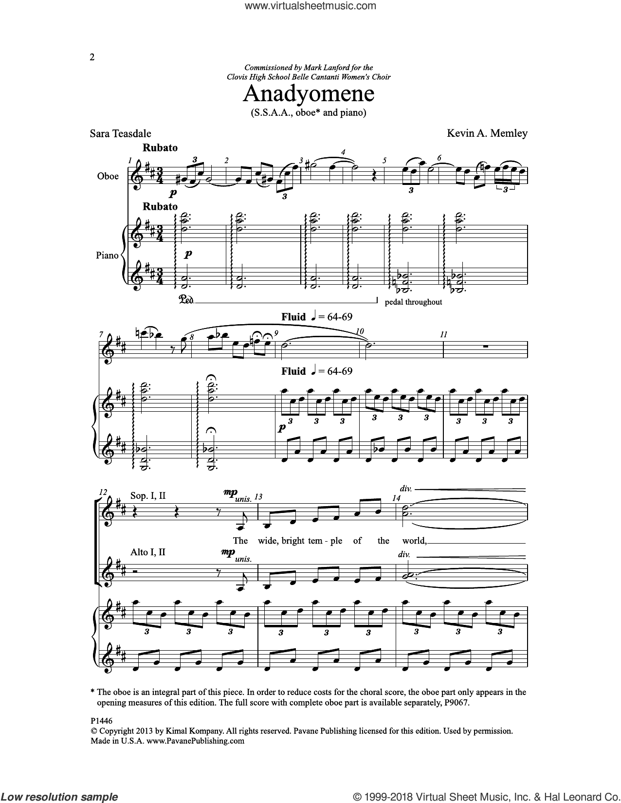 Anadyomene (of Supplication) sheet music for choir (SSAA: soprano, alto) by Kevin A. Memley and Sara Teasdale, intermediate skill level