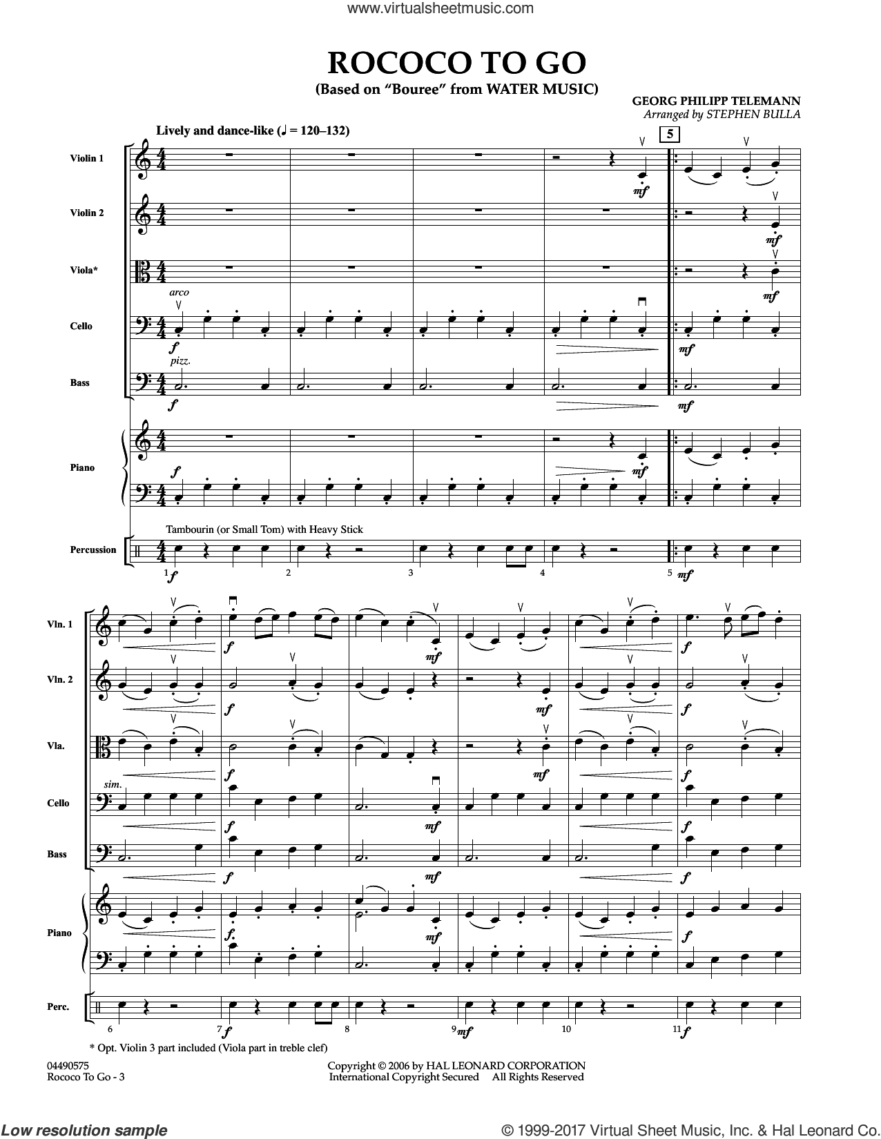 Rococo to Go (COMPLETE) sheet music for orchestra by Stephen Bulla and Georg Philipp Telemann, intermediate skill level