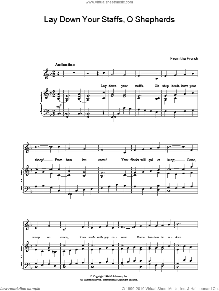 Lay Down Your Staffs, O Shepherds sheet music for voice, piano or guitar, intermediate skill level
