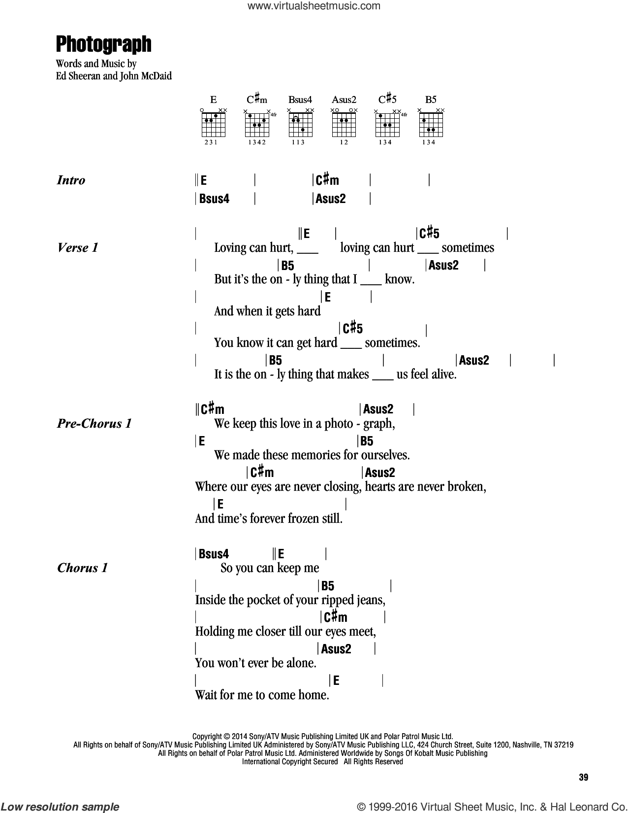 Photograph sheet music for guitar (chords) by Ed Sheeran, intermediate. Score Image Preview.