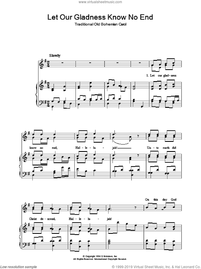 Let Our Gladness Know No End sheet music for voice, piano or guitar, intermediate skill level