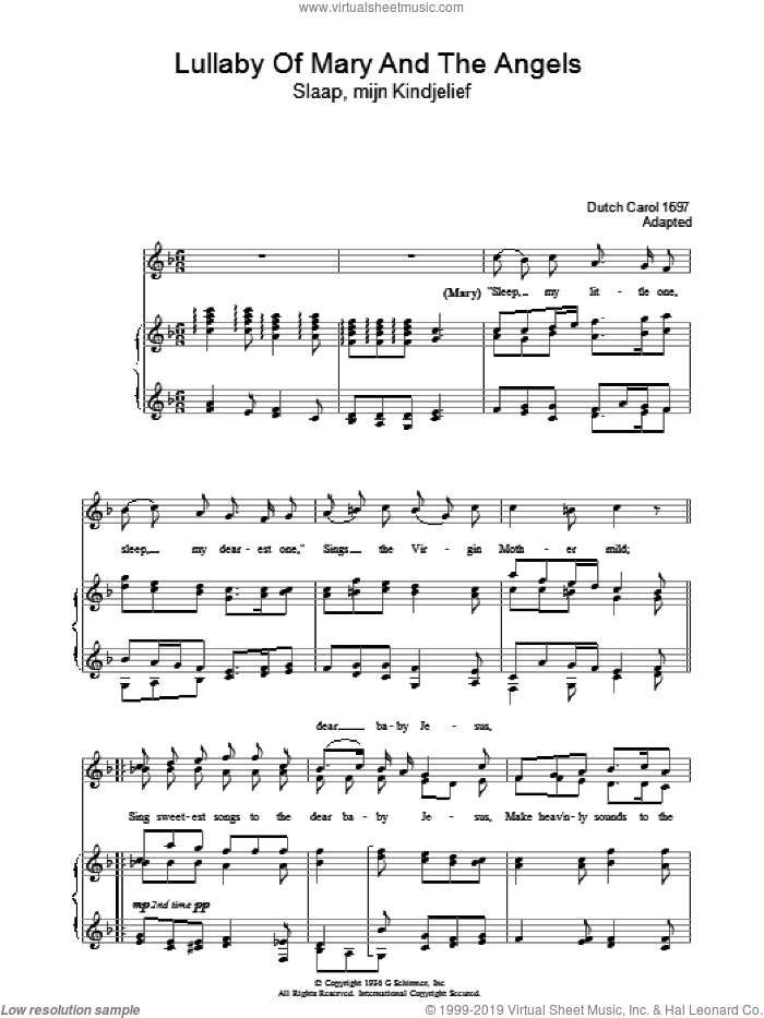 Lullaby Of Mary And The Angels sheet music for voice, piano or guitar. Score Image Preview.
