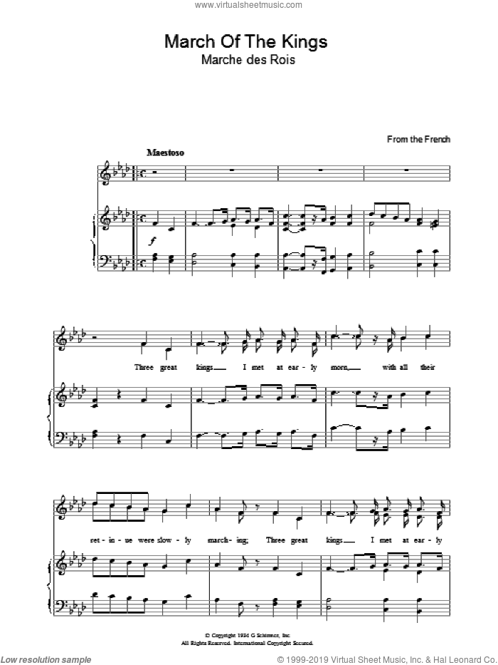 March Of The Kings sheet music for voice, piano or guitar. Score Image Preview.