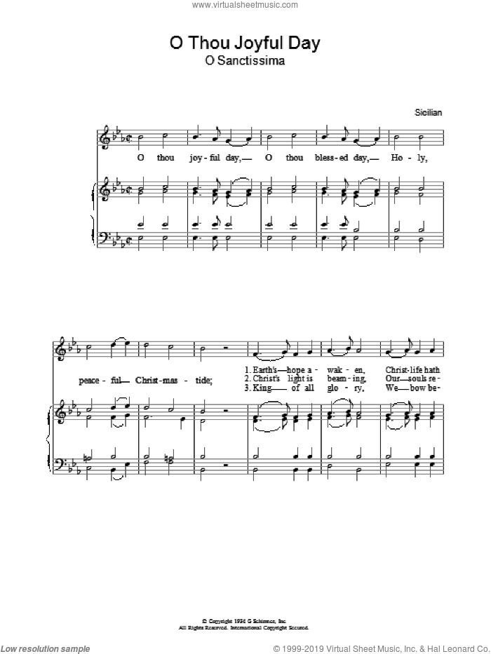 O Thou Joyful Day sheet music for voice, piano or guitar. Score Image Preview.
