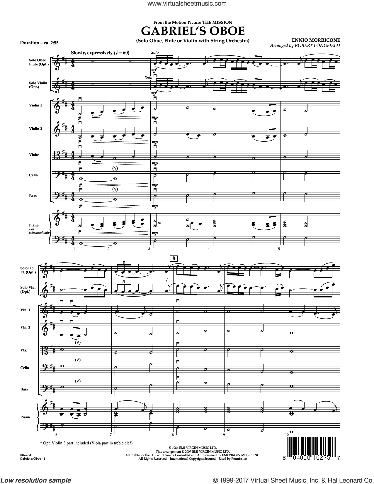 Gabriel's Oboe (from The Mission) (COMPLETE) sheet music for orchestra by Robert Longfield and Ennio Morricone, classical score, intermediate. Score Image Preview.