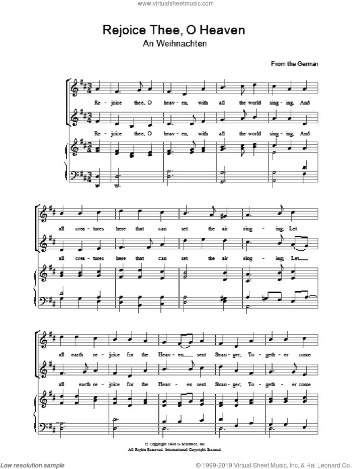 Rejoice Thee, O Heaven sheet music for voice, piano or guitar. Score Image Preview.