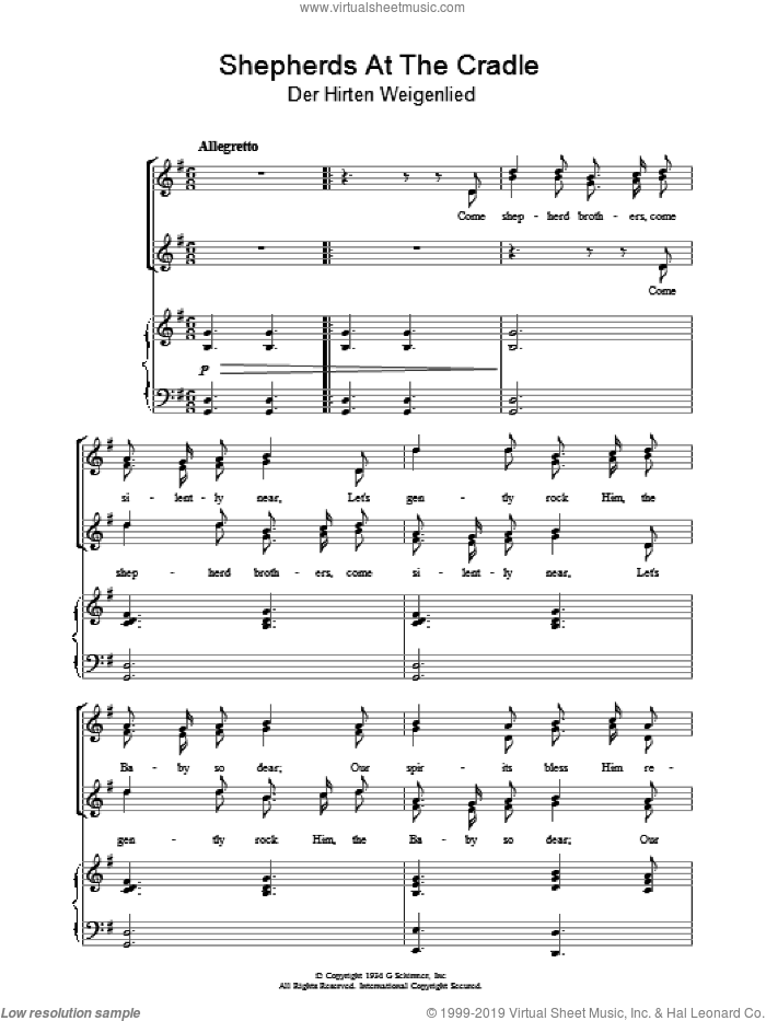 Shepherds At The Cradle sheet music for voice, piano or guitar, Christmas carol score, intermediate voice, piano or guitar. Score Image Preview.