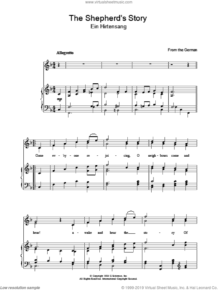 The Shepherd's Story sheet music for voice, piano or guitar. Score Image Preview.