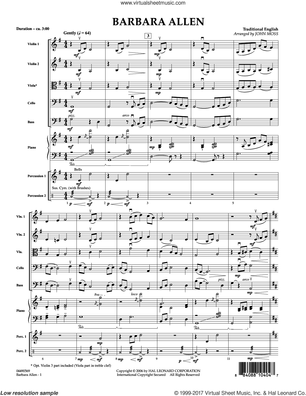 Barbara Allen (COMPLETE) sheet music for orchestra by John Moss, intermediate. Score Image Preview.
