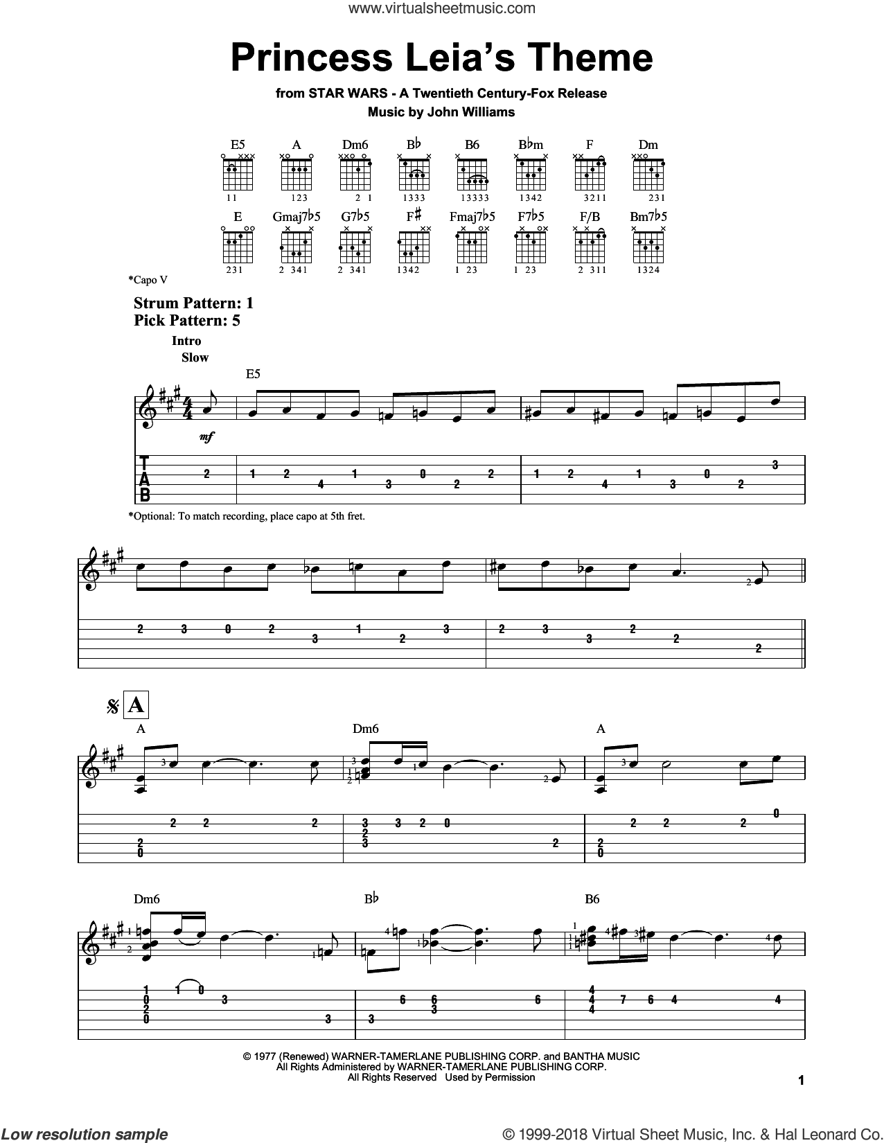 Princess Leia's Theme sheet music for guitar solo (easy tablature) by John Williams, easy guitar (easy tablature)