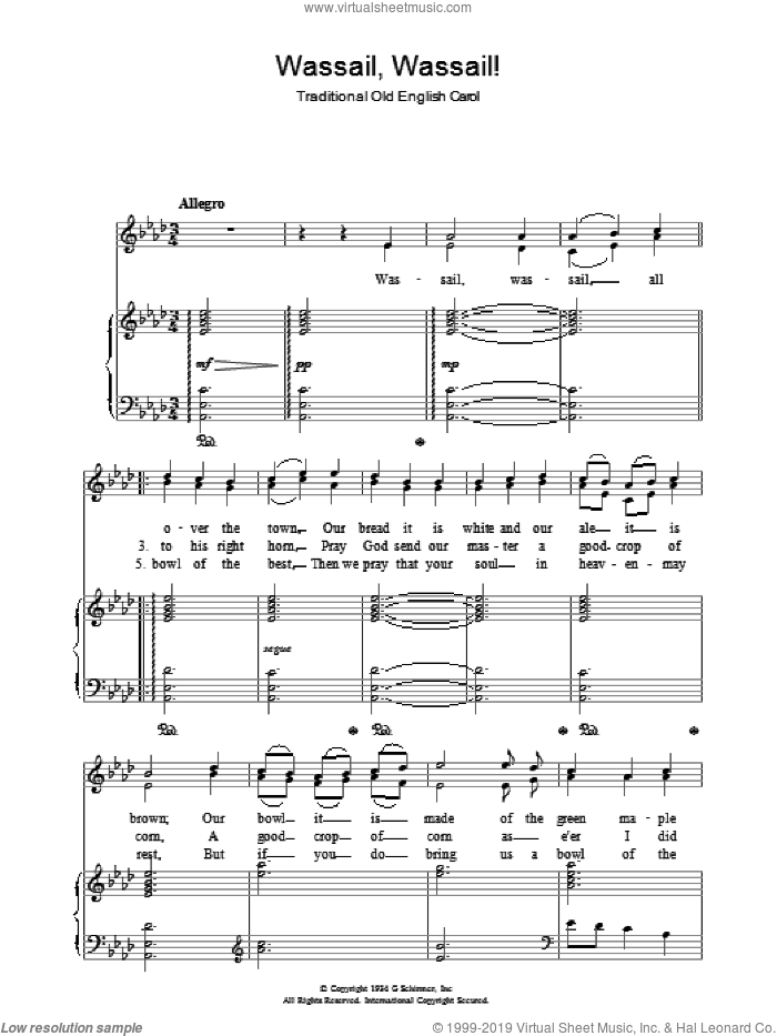 Wassail! Wassail! sheet music for voice, piano or guitar, intermediate skill level