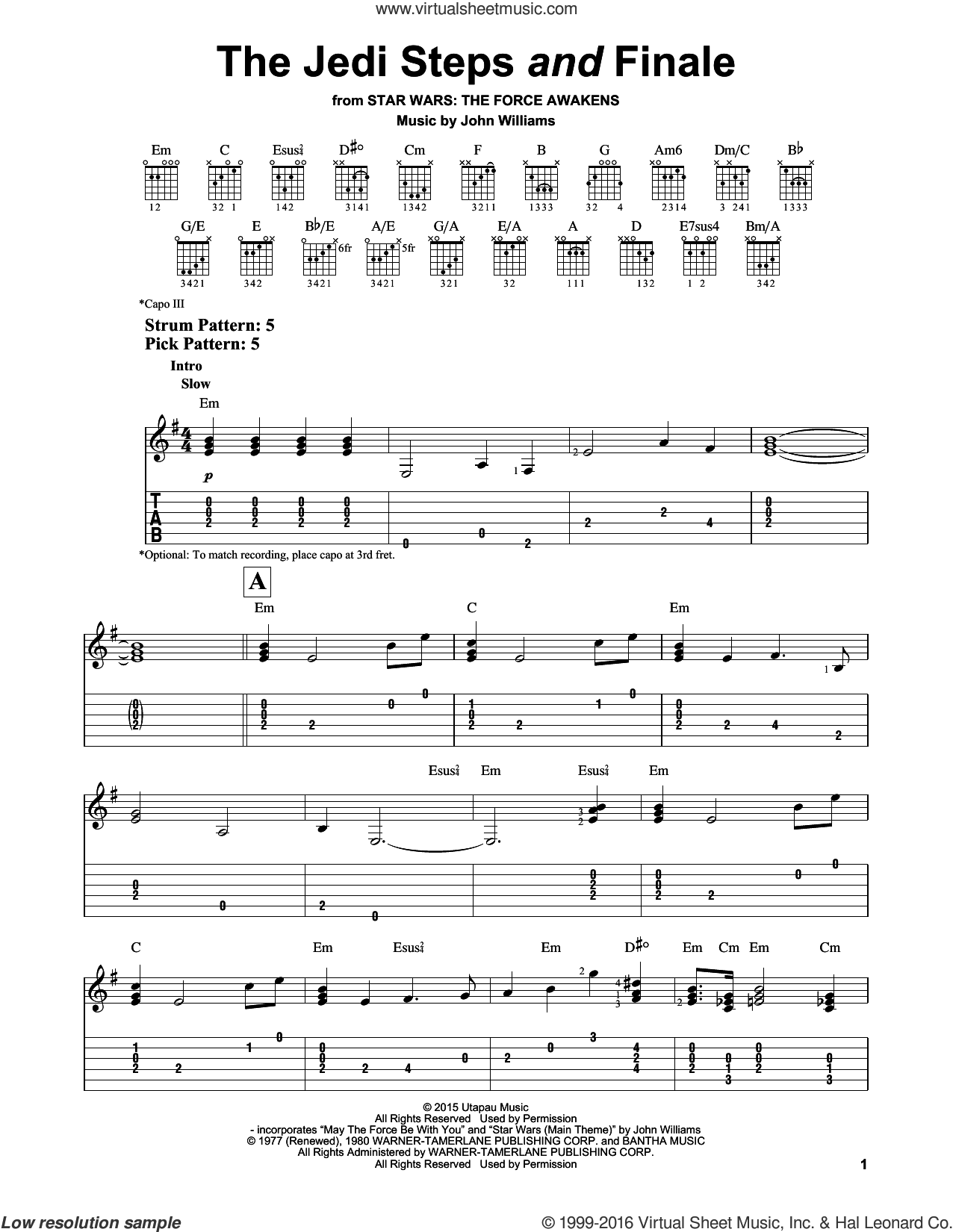 The Jedi Steps And Finale sheet music for guitar solo (easy tablature) by John Williams, easy guitar (easy tablature). Score Image Preview.