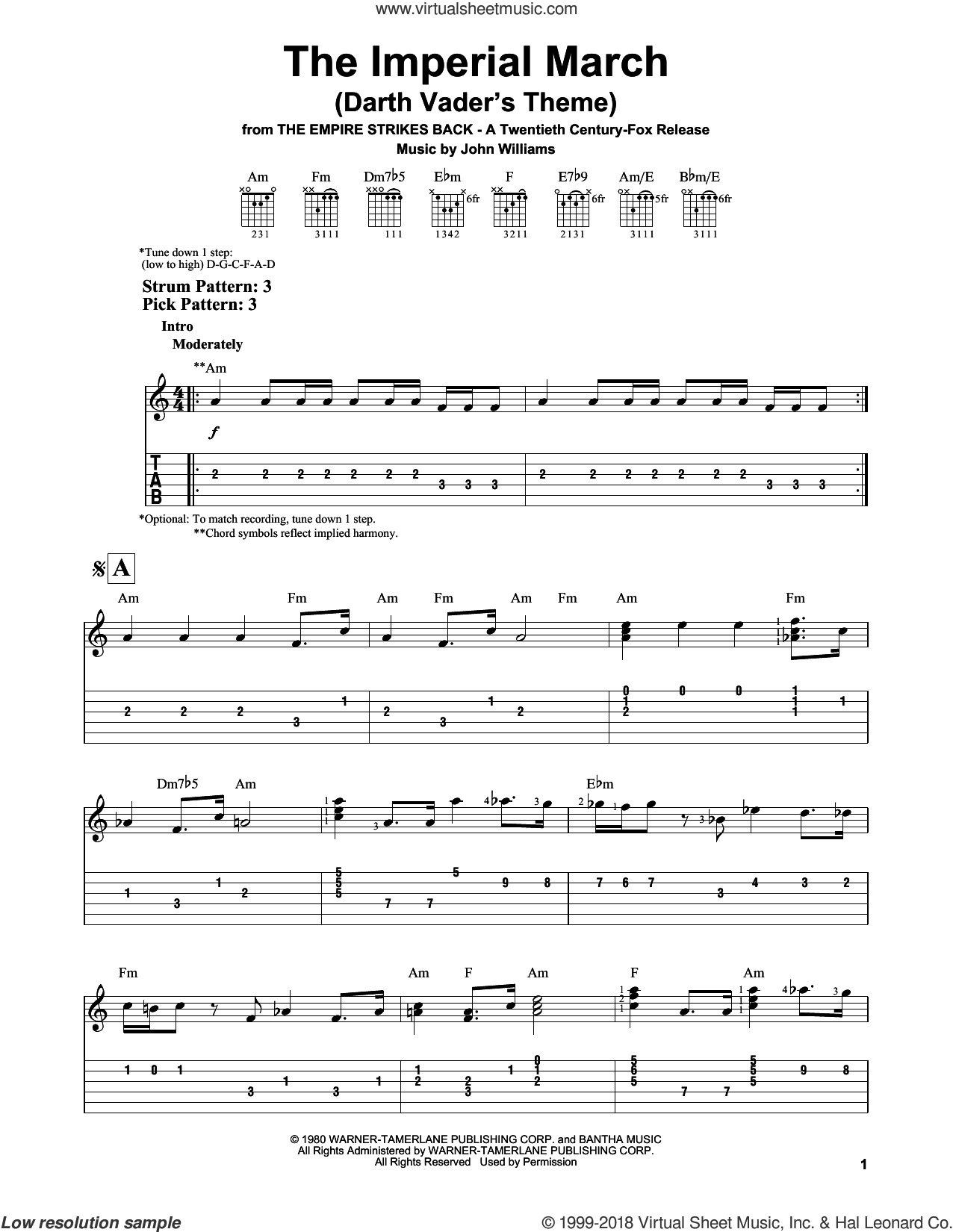 The Imperial March (Darth Vader's Theme) sheet music for guitar solo (easy tablature) by John Williams, easy guitar (easy tablature)