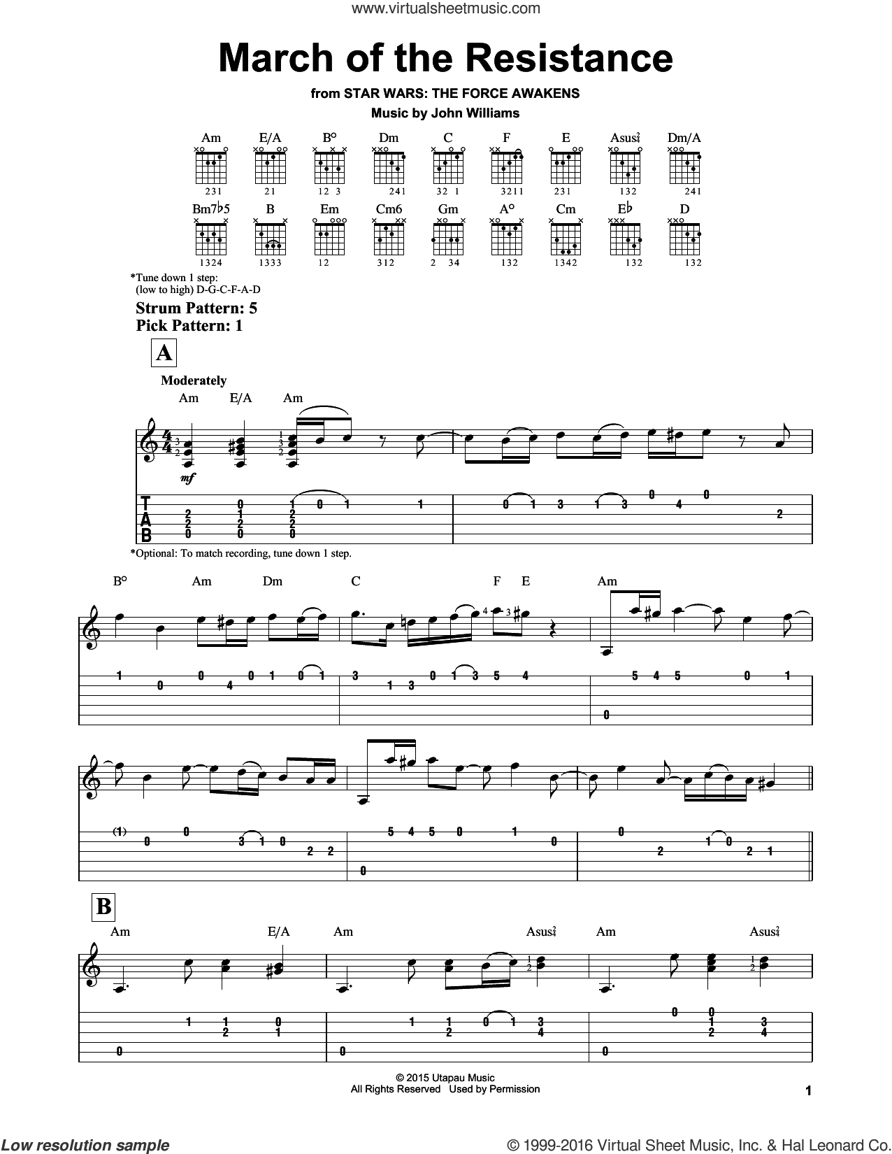 March Of The Resistance sheet music for guitar solo (easy tablature) by John Williams, easy guitar (easy tablature)