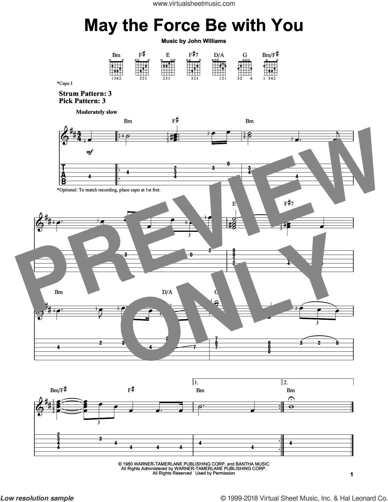 May The Force Be With You sheet music for guitar solo (easy tablature) by John Williams, easy guitar (easy tablature)