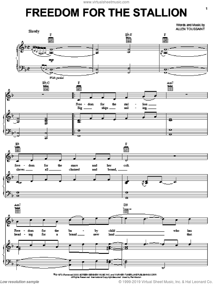 Freedom For The Stallion sheet music for voice, piano or guitar by Elvis Costello & Allen Toussaint
