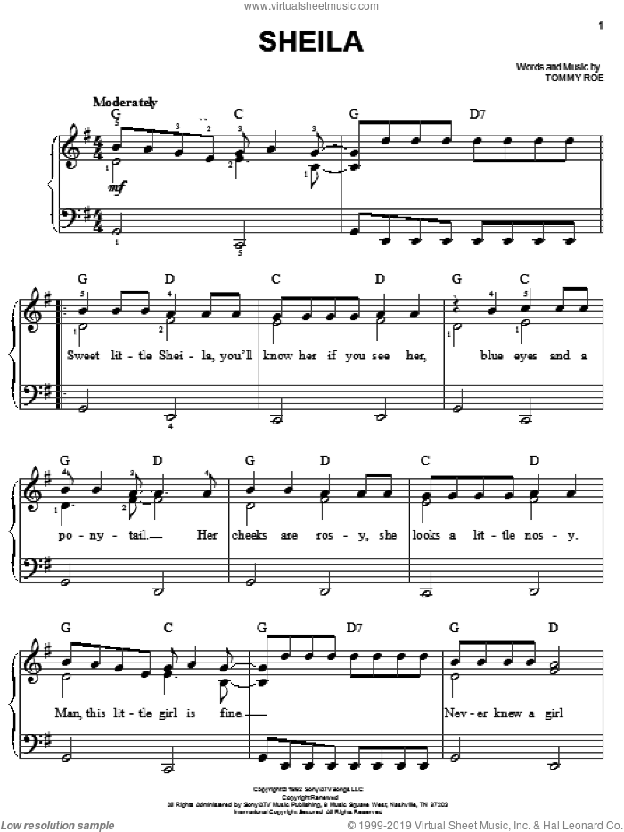 Sheila sheet music for piano solo by Tommy Roe. Score Image Preview.