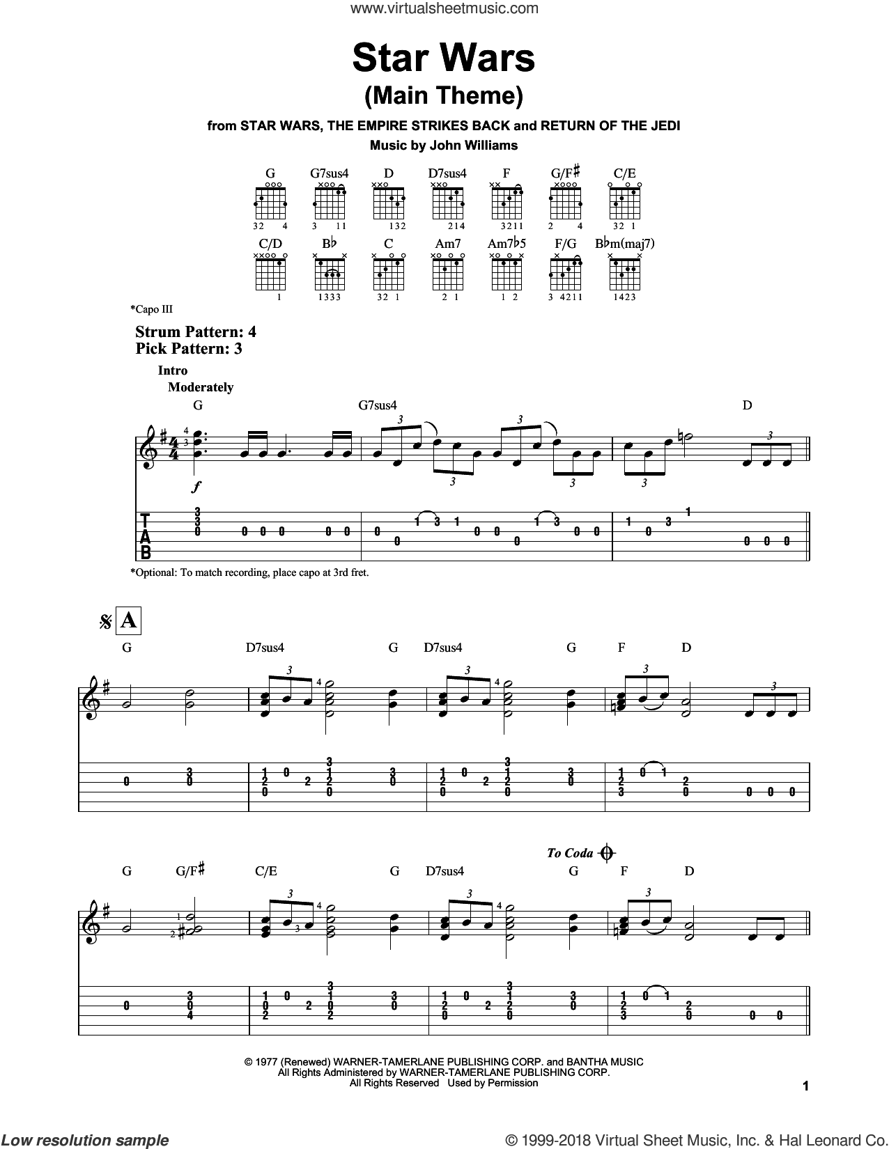 Star Wars (Main Theme) sheet music for guitar solo (easy tablature) by John Williams, easy guitar (easy tablature)
