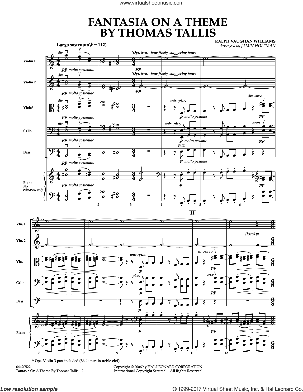 Fantasia on a Theme by Thomas Tallis (COMPLETE) sheet music for orchestra by Ralph Vaughan Williams, Jamin Hoffman and Vaughan Williams, classical score, intermediate skill level
