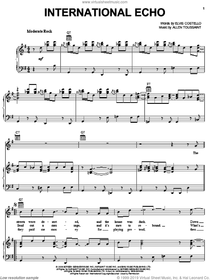 International Echo sheet music for voice, piano or guitar by Elvis Costello & Allen Toussaint, Allen Toussaint and Elvis Costello, intermediate skill level