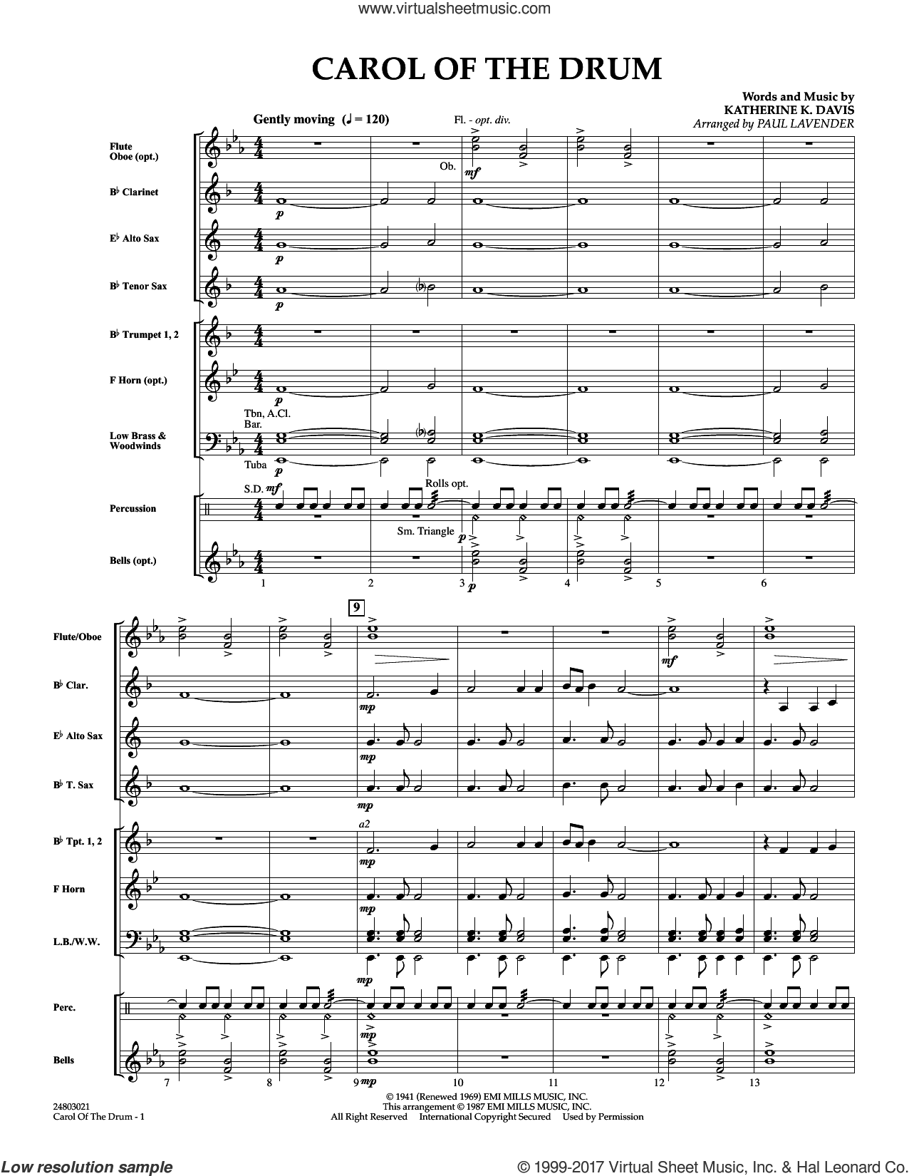 Carol of the Drum (COMPLETE) sheet music for concert band by Paul Lavender and Katherine Davis, intermediate skill level