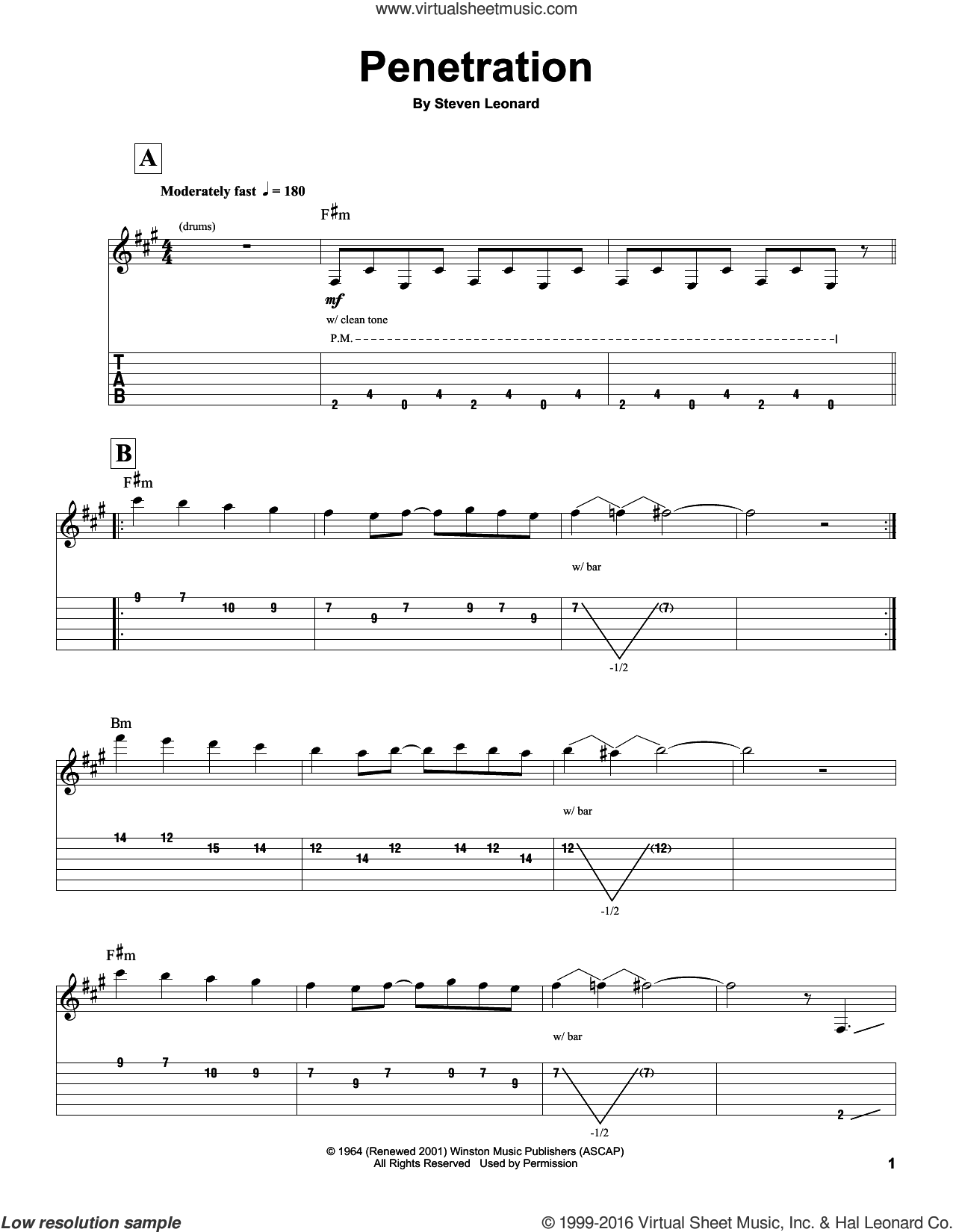 Penetration sheet music for guitar (tablature, play-along) by The Ventures and Steven Leonard, intermediate