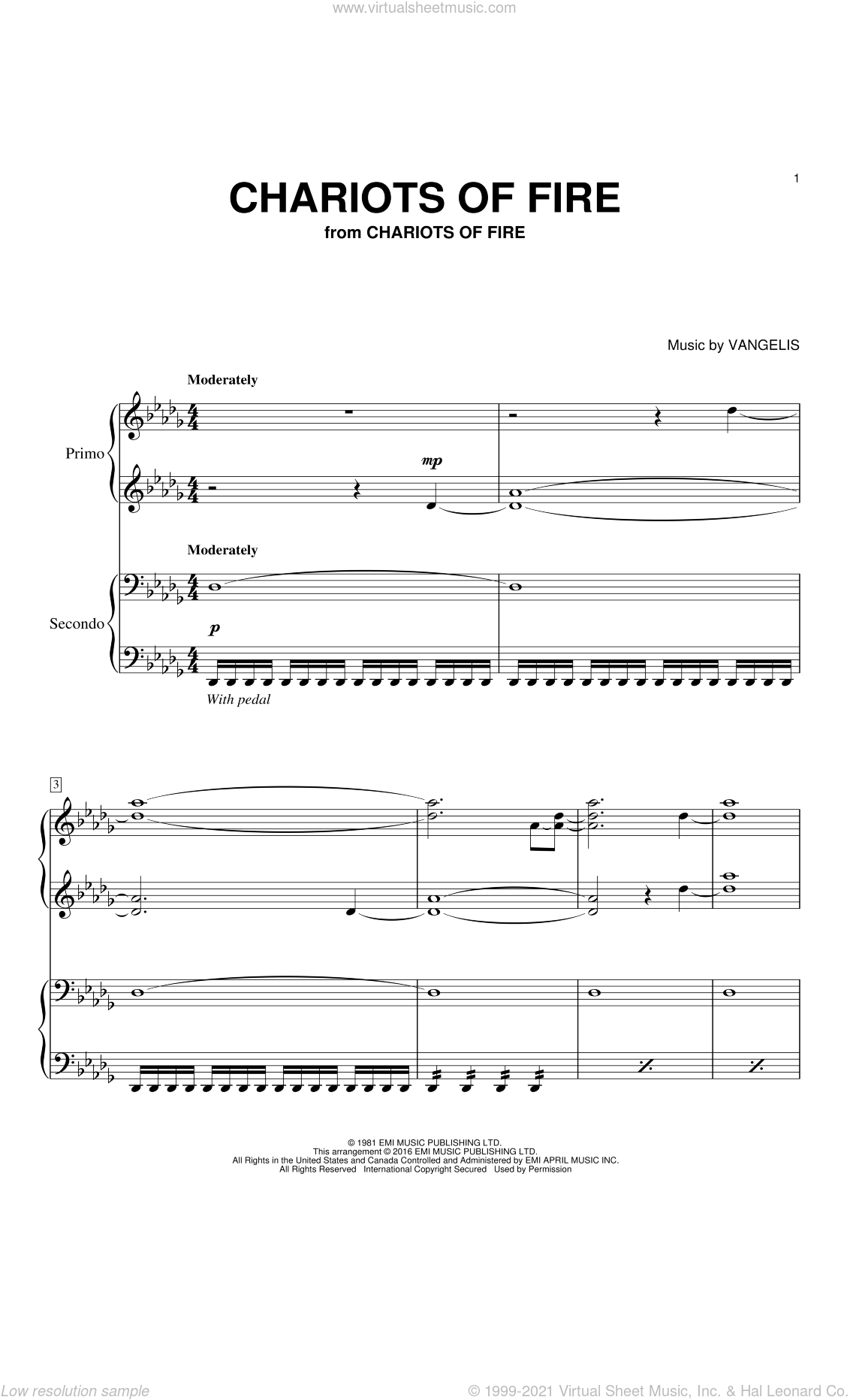 Chariots Of Fire sheet music for piano four hands (duets) by Vangelis. Score Image Preview.